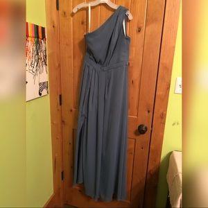 David's Bridal Gray/blue bridesmaid dress